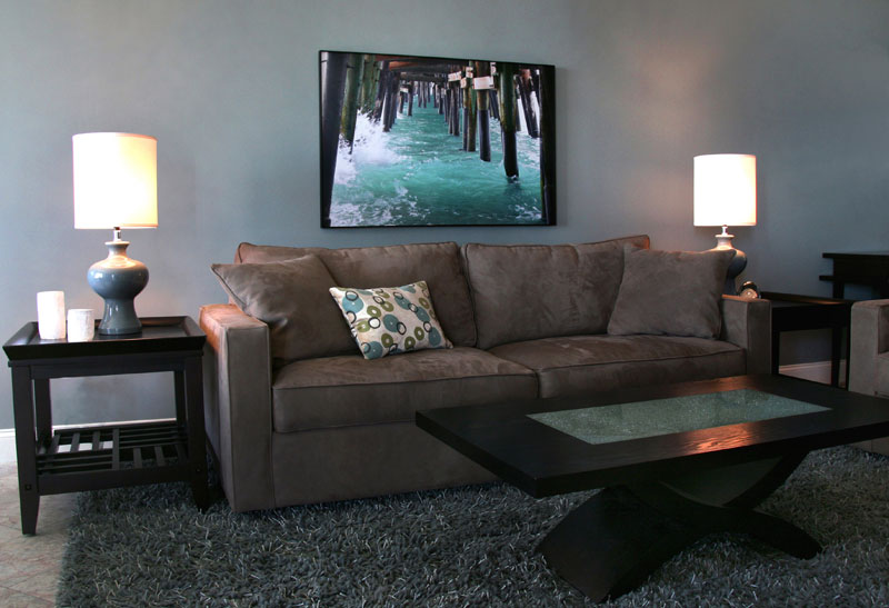 "Ocean theme living room with photo from ""Beaches"" Series MGPicascio"