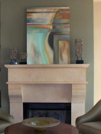 "Modern Interior with Abstract painting ""Under Lines"" by artist Mark G. Picascio"
