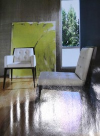Art Interior with modern abstract art in lime green