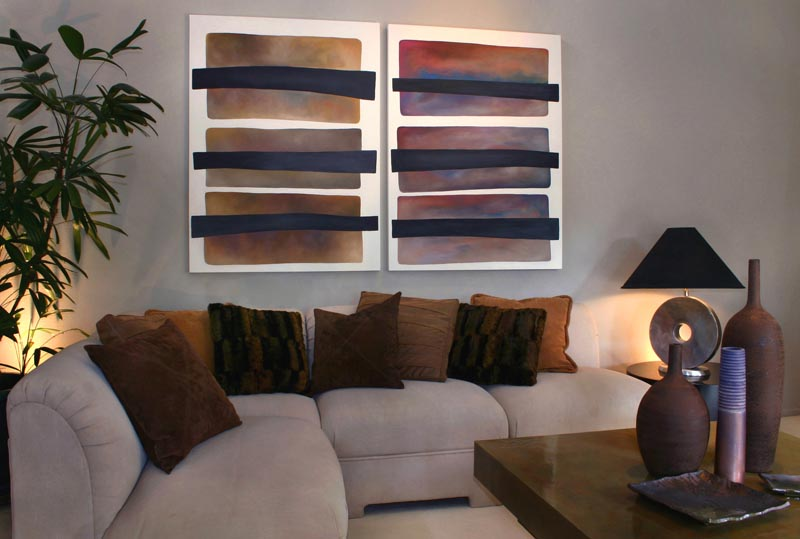Abstract Modern Art With Subtle Earth Tones Living Room