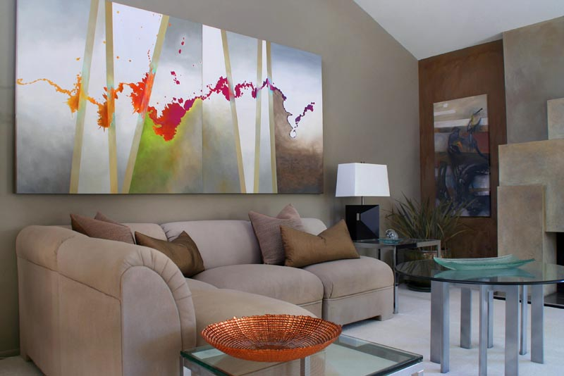 Art interiors with intriquing large scale abstract art living room