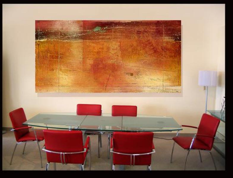 Red & orange modern abstract art in conference room