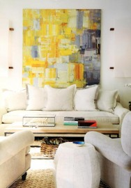 Yellow chromatic modern art in interior