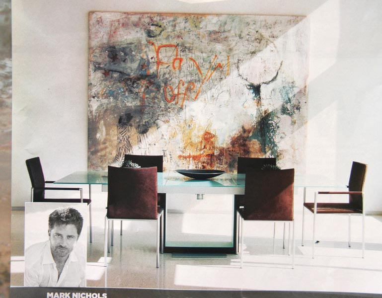 Large Abstract Art In Dining Room Of A Mark Nichols Interior