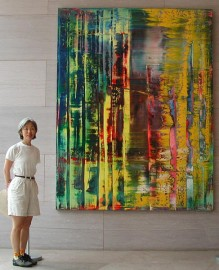 Large abstract painting by Gerhard Richter in a modern interior