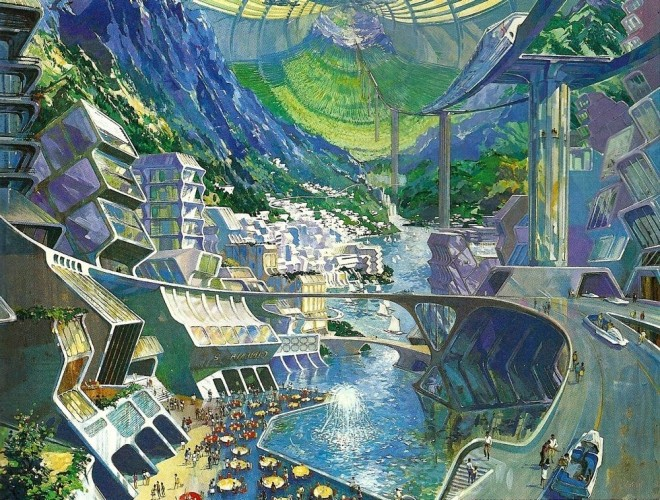 Concept painting for EPCOT Center Space Habitat