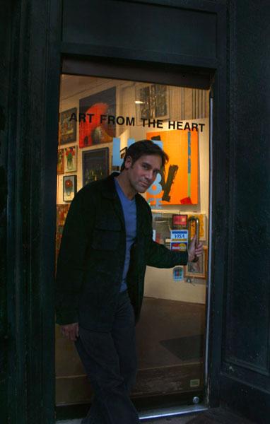 Artist Mark G. Picascio at modern art gallery opening