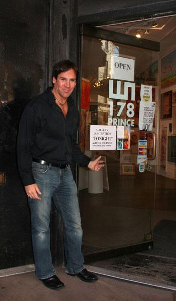 Artist Mark G. Picascio at a modern art gallery opening at Ward-Nasse