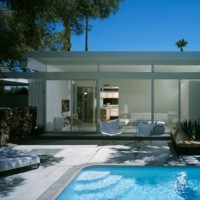 Architect Donald Wexler, pool at steel house, Palm Springs, CA, Modernism Week, 2011.