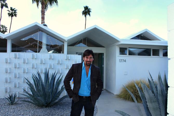 Mark G. Picascio in front of a Barry Berkus designed home