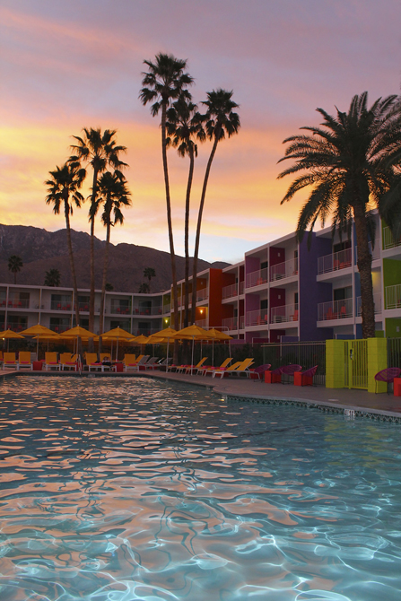Sunset over the Sagurro Hotel Pool, Palm Springs, CA, Photo by MGPicascio.com