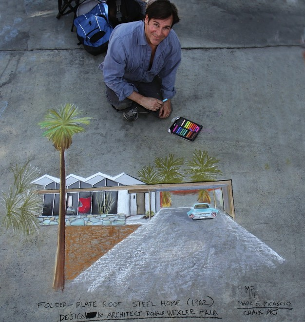 Donald Wexler Steel Development House in chalk art by Mark G. Picascio