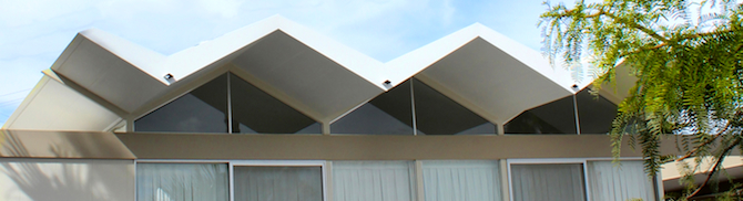 Iconic folded-plate steel roof design of a 1962 Steel Development House.