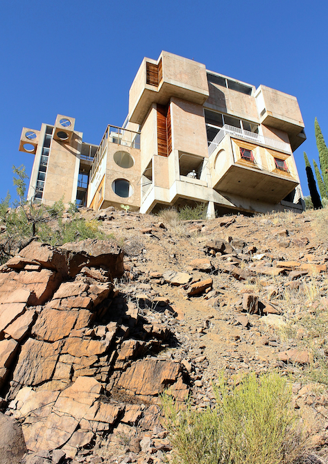 View of Arcosanti Visitor Center from the canyon below
