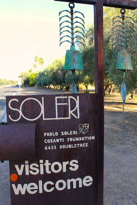 Sign at the entrance to Cosanti, AZ, Architect Paolo Soleri's home, studio and gallery