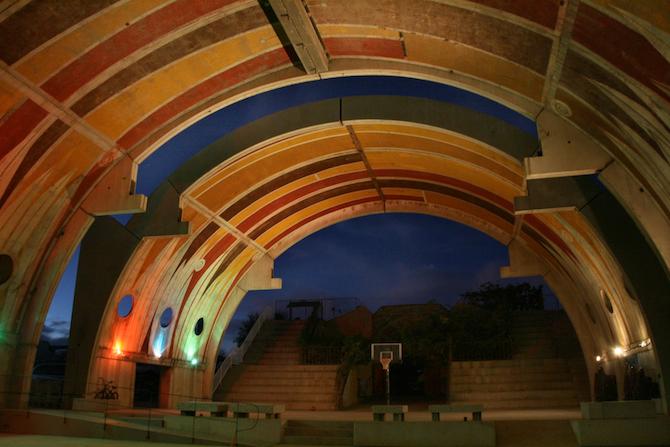 The Vaults illuminated at night, Arcosanti, AZ