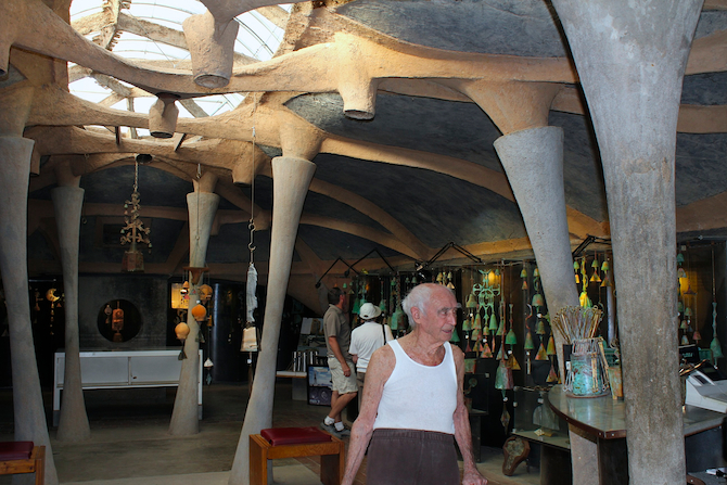 Paolo Soleri in his giftshop at Cosanti