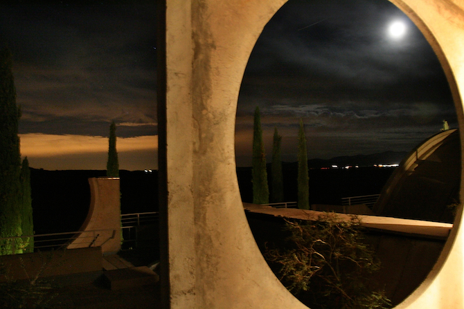 Dramatic night skies at Arcosanti from the Sky Suite terrace