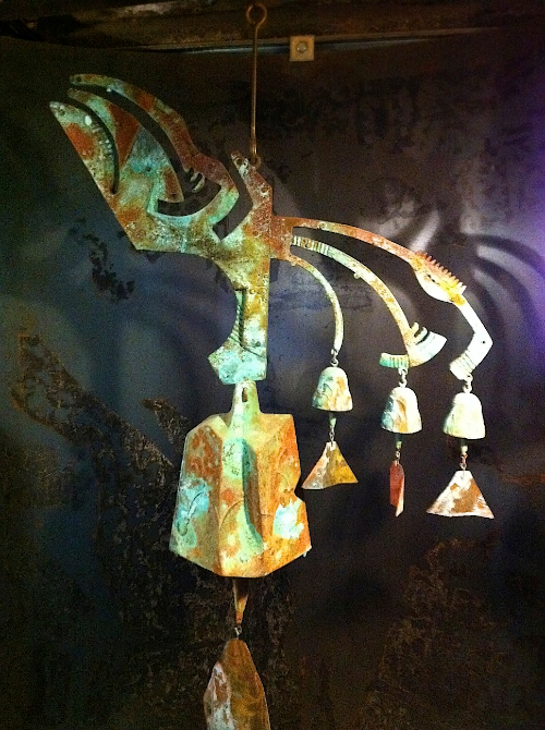 Beautiful bronze wind bell sculpture by Paolo Soleri, Cosanti, AZ