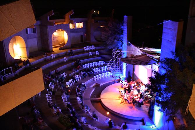 Beginning of Different Skies concert, 2011, Arcosanti, AZ
