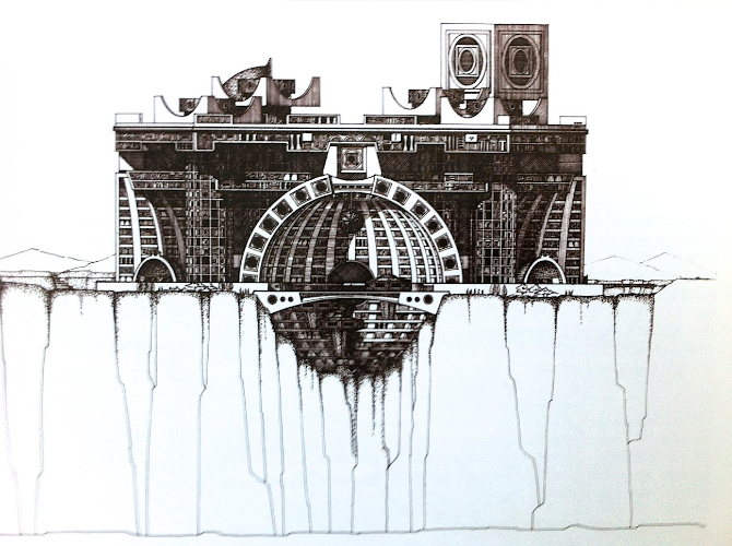Detailed drawing of future city plans for Arcosanti