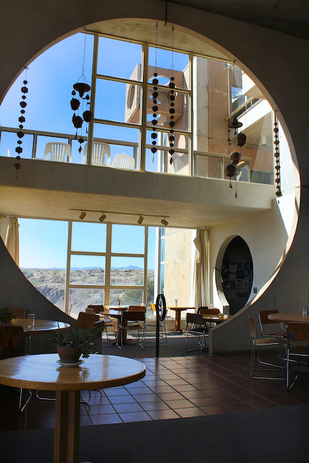 Morning start looking out from the main dining hall at Arcosanti