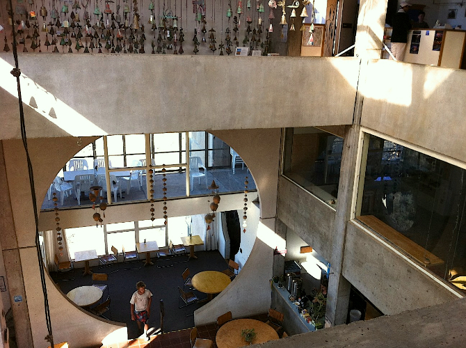 The bells displayed above the main dining at Arcosanti