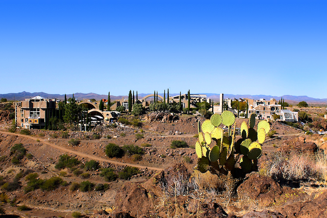 The entire view of Arcosanti from the opposite canyon