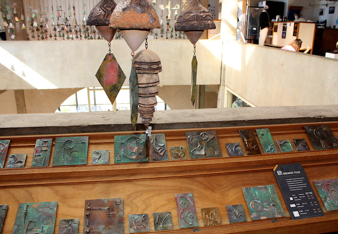 Designed at Arcosanti, hand made broze bells and tile art