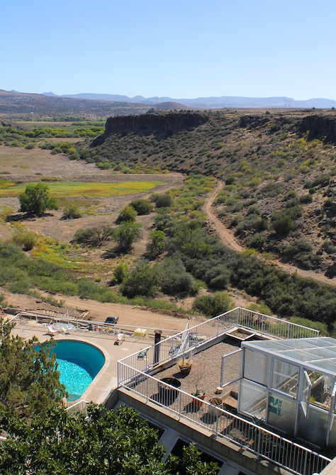 View of the swimming pool and canyon from the rooftops at Arcosanti,