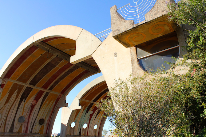 Daylight view of the curves at the Vaults, Arcosanti