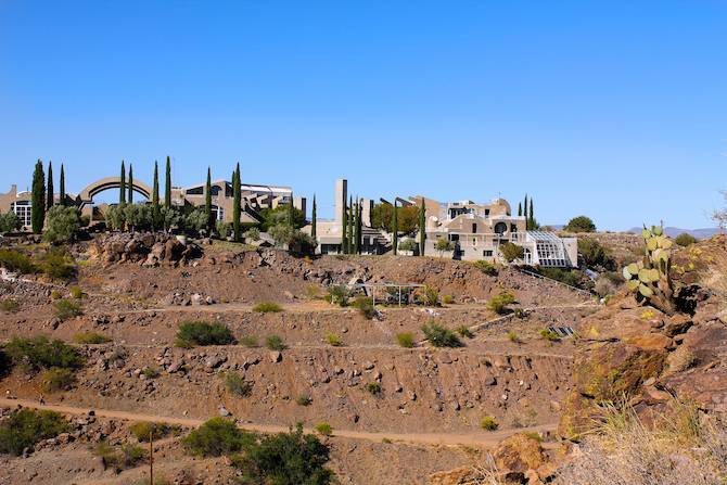 Large landscape view across the canyon at Arcosanti