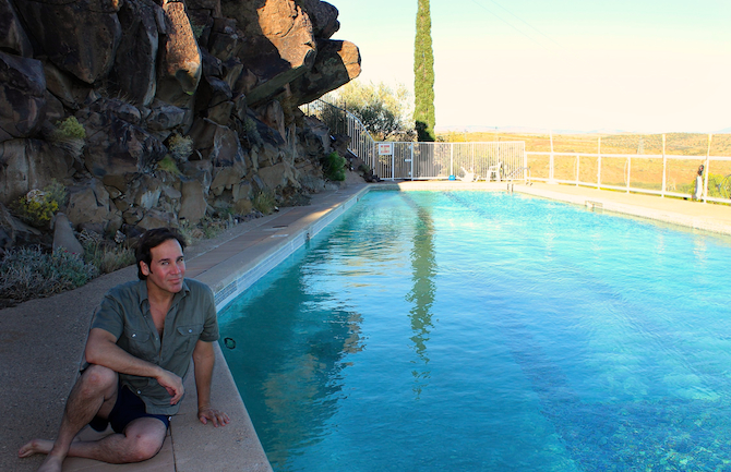 Mark G. Picascio at the swimming pool, Arcosanti, AZ
