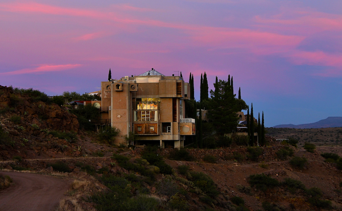 Sunset with golden reflections on Arcosanti.