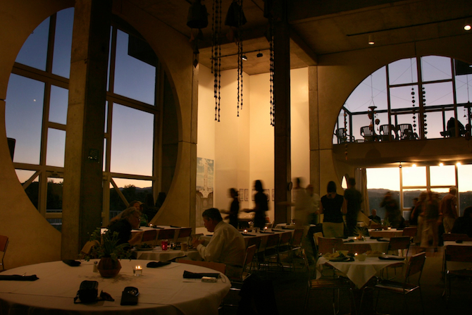 Sunset in the main dining hall at Arcosanti, AZ