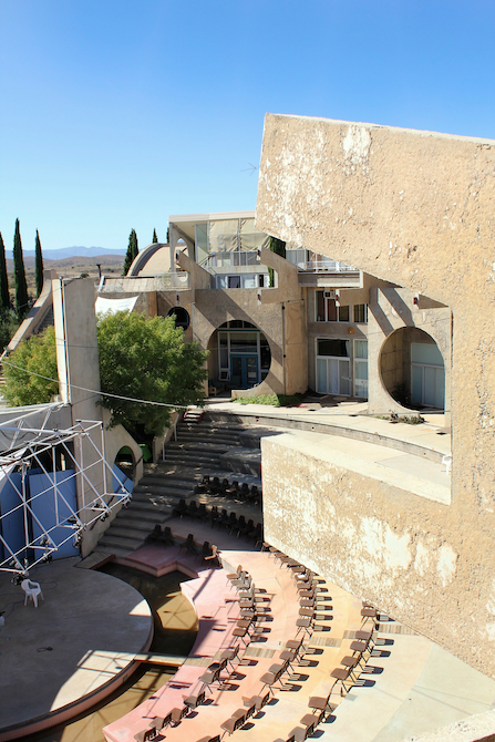 Rooftop view of the Colly Soleri Music Center at Arcosanti